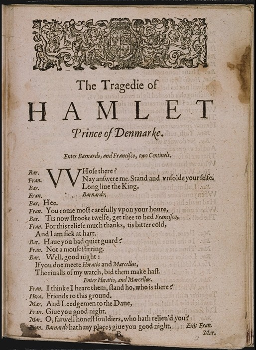 A page from Hamlet, from Shakespeare's First Folio